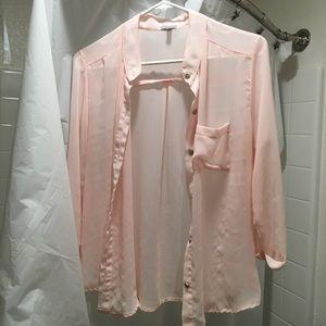 Pastel blush pink sheer shirt